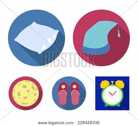 Night Cap, Pillow, Slippers, Moon. Rest And Sleep Set Collection Icons In Flat Style Vector Symbol S