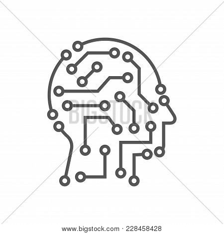 Techno Human Head Vector Logo Concept Illustration. Creative Idea Sign. Learning Icon. People Comput