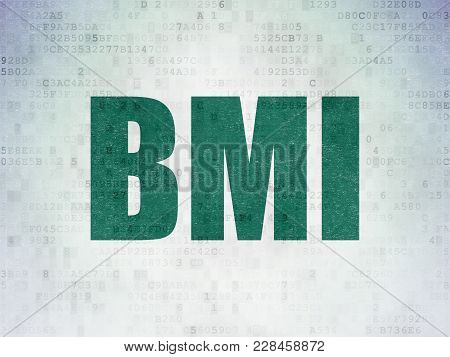 Medicine Concept: Painted Green Word Bmi On Digital Data Paper Background
