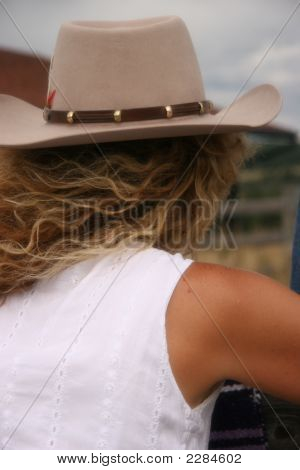 Blond Cowgirl Looking Away