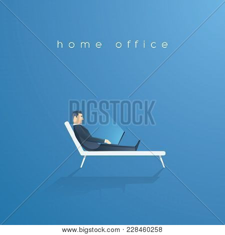 Business Home Office Vector Concept. Businessman Working On Laptop While Sitting On Sunbed, Relaxed,