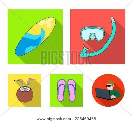 Diving, Surfing, Cocktail.summer Vacation Set Collection Icons In Flat Style Vector Symbol Stock Ill