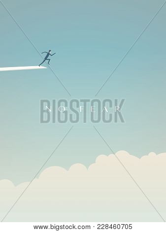 Business Risk Vector Minimalist Concept. Businessman Running To Jump From Board Above Clouds As Symb