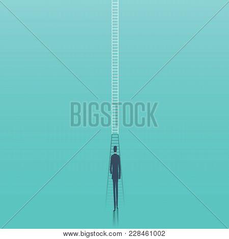 Business Corporate Career Ladder Vector Concept. Businessman Walking Towards Ladder As Symbol Of Car