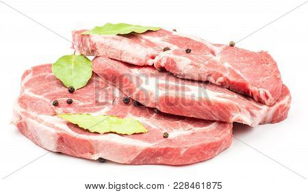 Raw Pork Neck Meat Cuts With Black Pepper And Three Bay Leaves Isolated On White Background Fresh Th