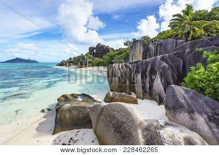 Rocks,white Sand,palms,turquoise Water At Tropical Beach,la Dique,seychelles Paradise 19