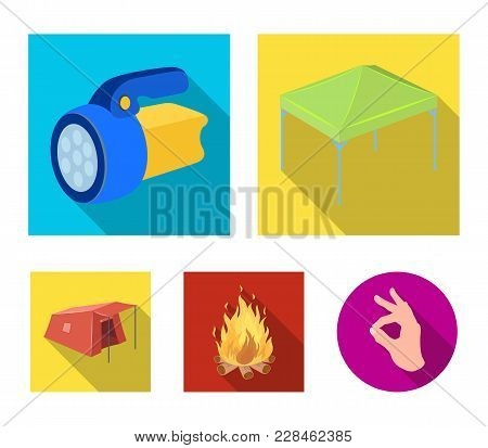 Awning, Fire And Other Tourist Equipment.tent Set Collection Icons In Flat Style Vector Symbol Stock