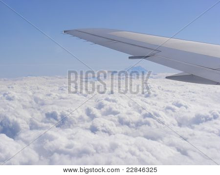Airplane above the sky