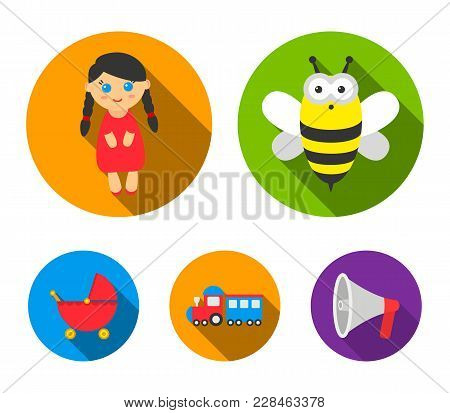 Bee, Doll, Train, Stroller.toys Set Collection Icons In Flat Style Vector Symbol Stock Illustration