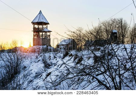 Wooden Lookout Tower. Old Russian Fortifications