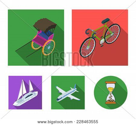 Bicycle, Rickshaw, Plane, Yacht.transport Set Collection Icons In Flat Style Vector Symbol Stock Ill
