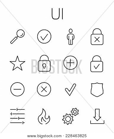 Ui Related Vector Icon Set. Well-crafted Sign In Thin Line Style With Editable Stroke. Vector Symbol
