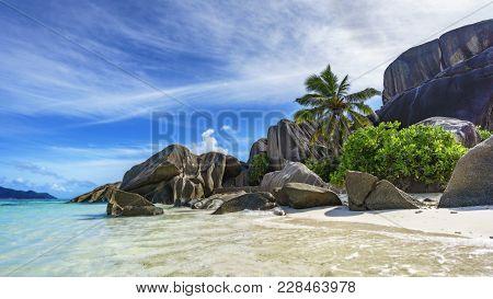 Rocks,white Sand,palms,turquoise Water At Tropical Beach,la Dique,seychelles Paradise 4