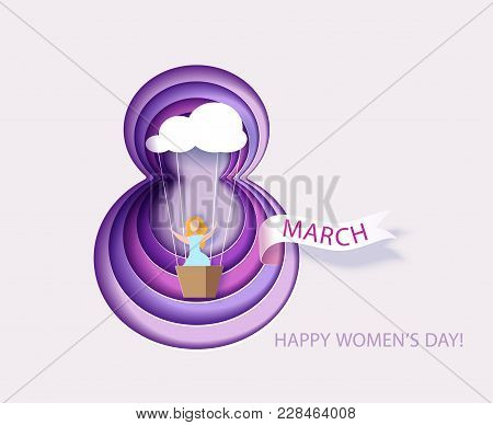 Card For 8 March Womens Day. Woman In Basket Of Air Ballon Shaped As Cloud. Abstract Background With