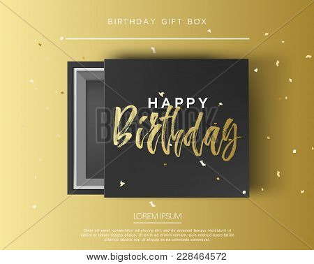 Opened Black Cardboard Package Mock Up Box. Gift Box With Happy Birthday Golden Lettering Sign On Be