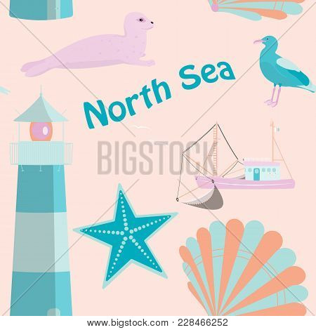 Pattern Background. Seamless Pattern Of North Sea With Shells, Fisher Boat, Sea Gull, Seal And Light