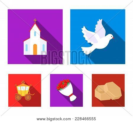 Pigeon, Church, Wedding Bouquet, Carriage. Wedding Set Collection Icons In Flat Style Vector Symbol