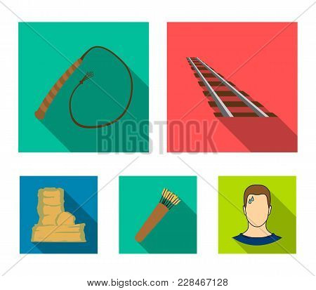 Rails, Whip, Quiver With Arrows, Rock.wild West Set Collection Icons In Flat Style Vector Symbol Sto