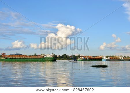 Cargo Ship On The Neva River In Outskirts Of St.petersburg, Russia.