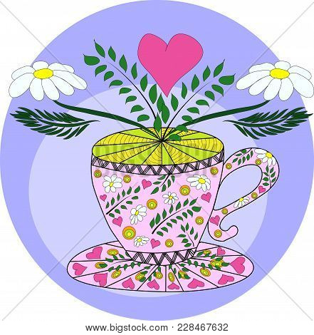 Cup Of Hot Camomile Tea And Stem With Leaves And Flowers. Chamomile Stem With Leaves And Flowers. Ve