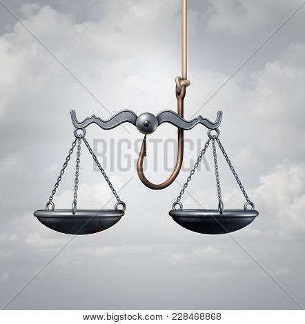 Law Trap Or Entrapment And Trapped By The Legal System Concept As A Hook With A Justice Scale As Bai