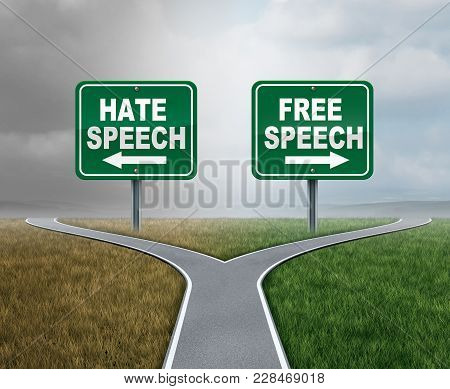 Free Speech And Hate Talk As Freedom Or Hatred Symbol As Opposite Political Directions With 3d Illus