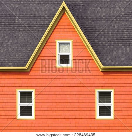 Grey roof, orange shingle walls with yellow and white details. Minimalistic style.