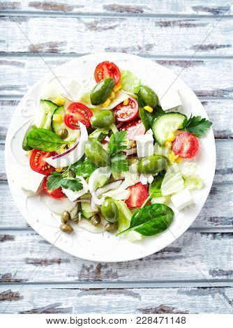 Mediterranean-style Salad with Olives, Capers and Feta