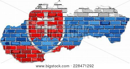 Slovak Republic Map On A Brick Wall - Illustration,  Grunge Map And Flag Of Slovakia On A Brick Wall