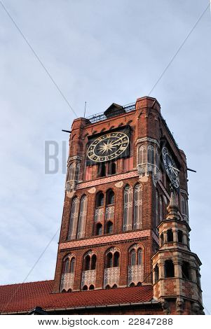 Gothic tower of town hall in Torun-city on The World Heritage List, Poland