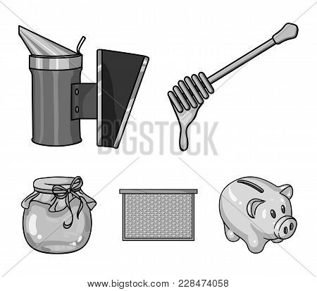 A Frame With Honeycombs, A Ladle Of Honey, A Fumigator From Bees, A Jar Of Honey.apiary Set Collecti