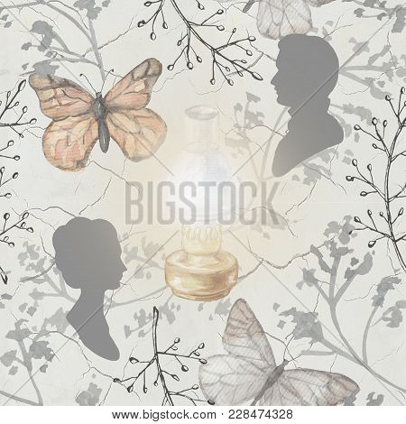 Seamless Background Pattern With Kerosene Lamp, Butterflies, Twigs And Silhouettes. Watercolor Hand