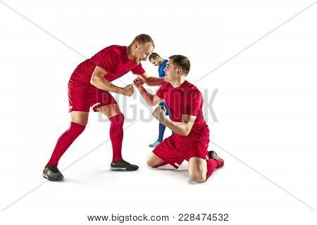 Happiness Football Players After Goal. The Professional Football, Soccer Player And Human Emotions C