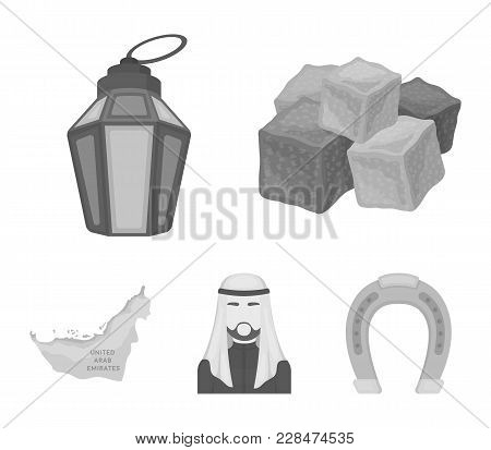 Eastern Sweets, Ramadan Lamp, Arab Sheikh, Territory.arab Emirates Set Collection Icons In Monochrom
