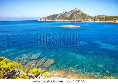 Island Scenery, Seascape Of Mallorca Spain. Idyllic Coastline Of Majorca, Mediterranean Sea On Sunny