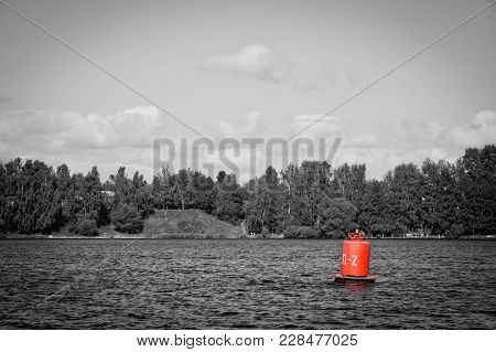 Buoy On A Lake On Summer Day Black And White
