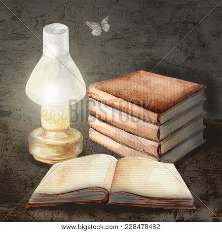Watercolor Hand Drawn Illustration With Books, Kerosene Lamp And Butterfly