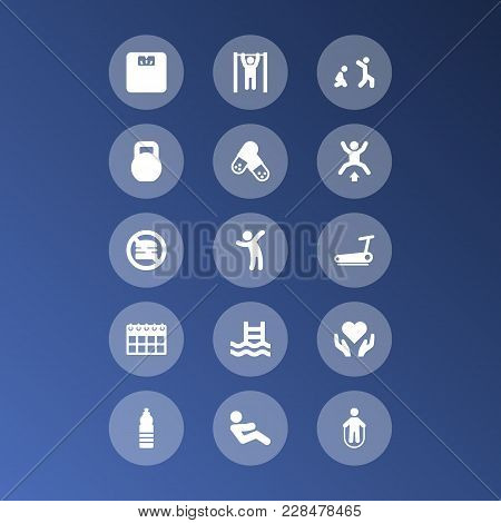 Set Of 15 Fitness Icons Set. Collection Of Pulls Up On Horizontal Bar, Kettlebells, Water Bottle And
