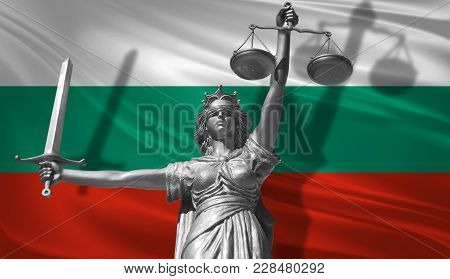 Cover About Law. Statue Of God Of Justice Themis With Flag Of Bulgaria Background. Original Statue O