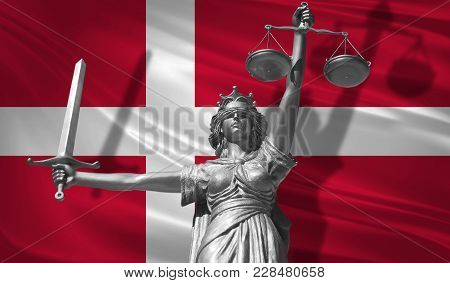 Cover About Law. Statue Of God Of Justice Themis With Flag Of Denmark Background. Original Statue Of