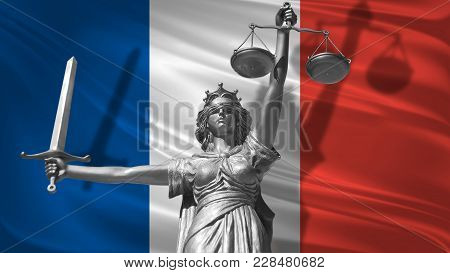 Cover About Law. Statue Of God Of Justice Themis With Flag Of France Background. Original Statue Of