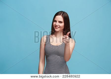 I Am Ok. Happy Business Woman, Sign Ok, Smiling, Isolated On Trendy Blue Studio Background. Beautifu
