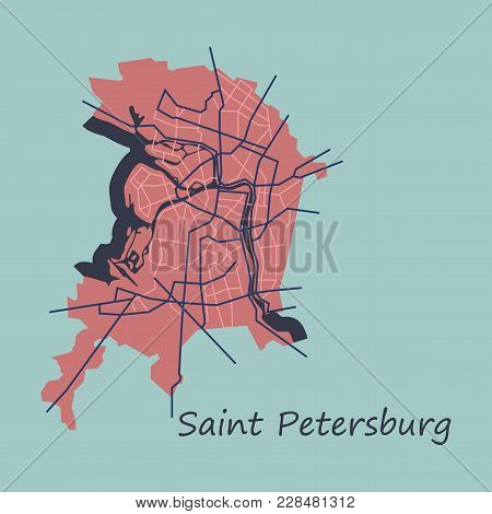 Flat Color Map Of The Centre Of St. Petersburg, Russia With Main Roads And Railways. All Objects Are