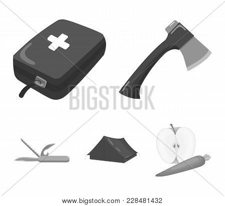 Ax, First-aid Kit, Tourist Tent, Folding Knife. Camping Set Collection Icons In Monochrome Style Vec
