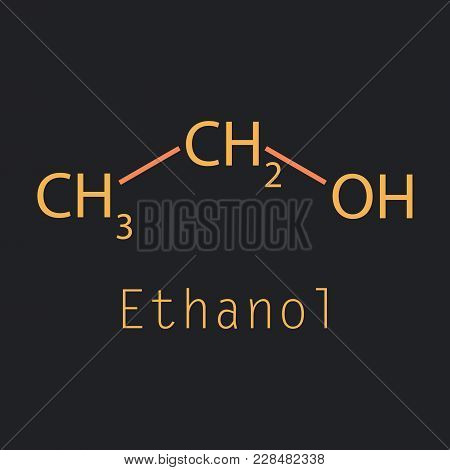 Ethanol Molecules In Volumetric Style. Vector Illustration Isolated On A Background. Scientific, Edu