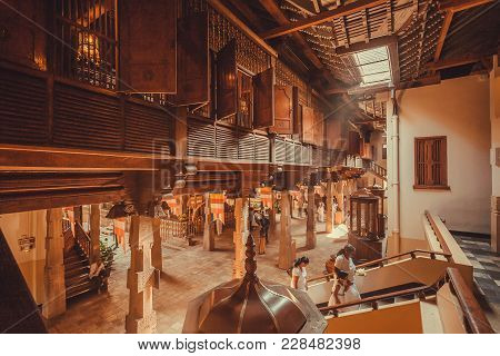 Kandy, Sri Lanka - Jan 6, 2018: Inside Holy The 16th Century Temple Of Sacred Tooth With Wooden Wall