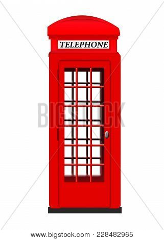 Isolated Red Phone Booth  On White Background. Red Telephone Booth
