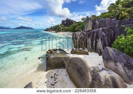 Rocks,white Sand,palms,turquoise Water At Tropical Beach,la Dique,seychelles Paradise 17