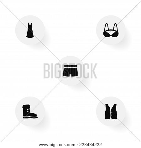 Set Of 5 Clothes Icons Set. Collection Of Boot, Slip Dress, Bra And Other Elements.