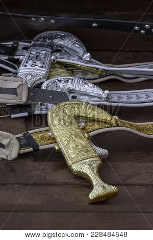 Traditional Arabian Dagger Put On Men Cloth